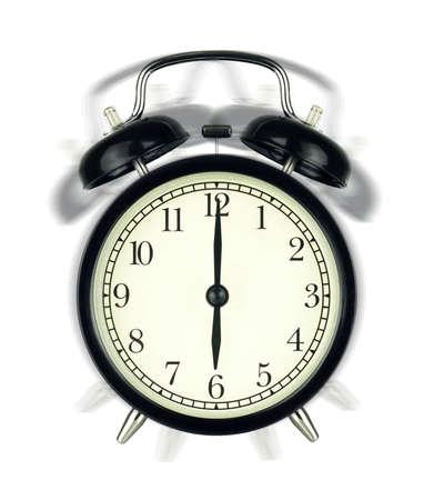 Ringing Alarm Clock wake-up time isolated on white background, showing six oclock.