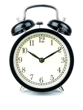Alarm Clock on white, showing ten o'clock on white background. Imagens - 92814182