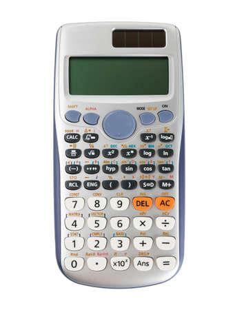 Wetenschappelijke calculator die op witte achtergrond met het knippen van weg wordt geïsoleerd. Stockfoto