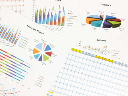 Business graphs and report information background for financial and economy concepts.