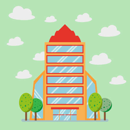 Big business company building with sky and tree, flat style, Vector Illustration. Illustration
