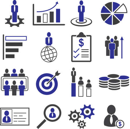 Business people management, Key target to Success icon set, Vector illustration.
