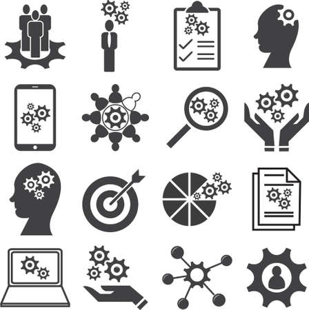 Knowledge of population, Ability, Skills icon set, Vector illustration.