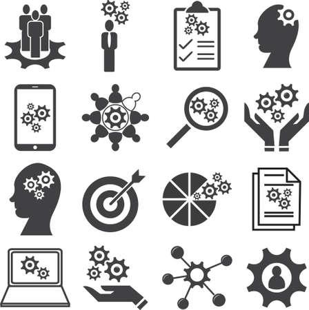 Knowledge of population, Ability, Skills icon set, Vector illustration.
