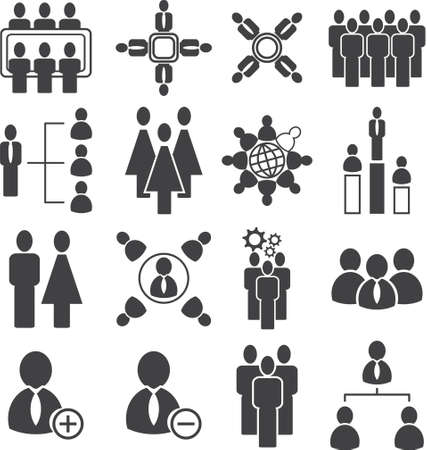 Population meeting icon, organization with society icon set,vector illustration.