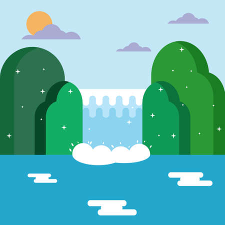 Nature Waterfall and mountain Landscape flat design. Illustration