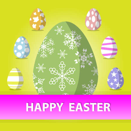 Happy Easter Congratulation greeting card with paper egg design, Vector illustration.