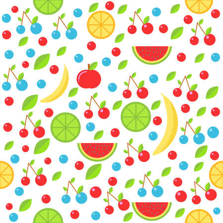 Colorful vector seamless pattern with summer fruits vector illustration.