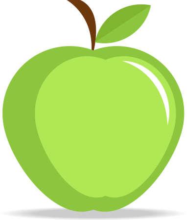 Green apple flat design, vector Illustration.