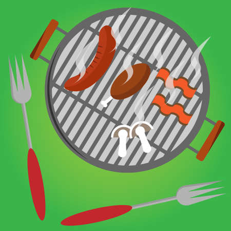 BBQ grill meat barbecue restaurant party at home dinner, Vector illustration EPS10. Illustration