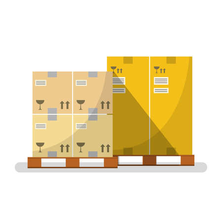 Boxes on wooded pallet with warehouse cardboard parcel boxes stack front view, flat design, Vector illustration EPS10.