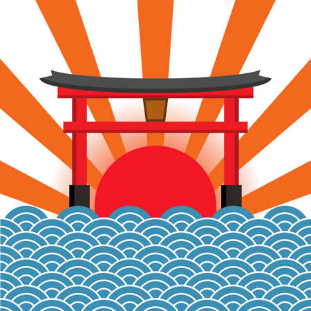 Miyajima on red sun and blue sea, The famous Floating Torii gate, Japan travel, Vector illustration