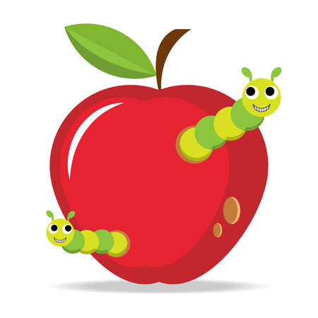 Apple fruit with worm, flat design, Vector Illustration EPS10. 向量圖像