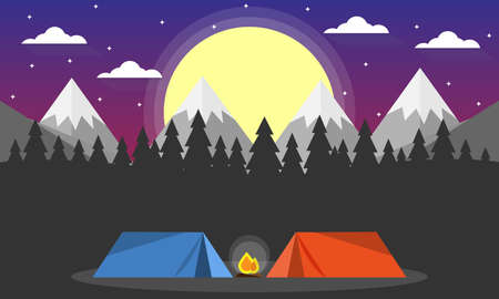 Travel Adventure Camping Evening Scene. Tent, Campfire, Pine forest and rocky mountains background, starry night sky with moon.