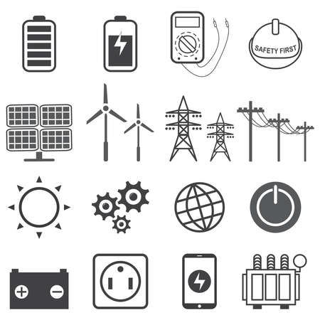 Énergie électrique, jeu d'icônes de puissance électrique, illustration vectorielle Eps10.
