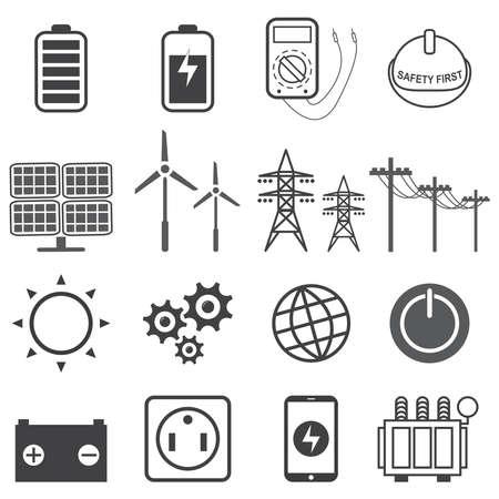 Energía eléctrica, conjunto de iconos de energía eléctrica, ilustración vectorial Eps10.