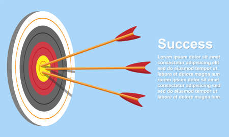 Target with arrow, Goal success concept. Vector illustration isolated on blue background.