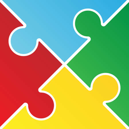 Colorful jigsaw puzzle with four pieces isolated vector illustration.