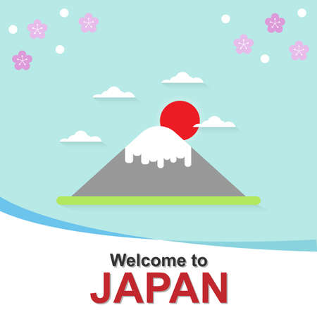Welcome to Japan, Fujisan with Japanese famous mountain, Vector illustration.