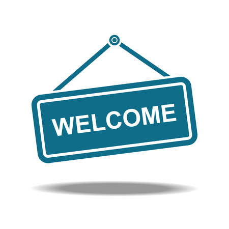 Welcome sign icon with modern flat style, Vector illustration. Çizim
