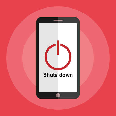 Smartphone with Shuts Down on screen, Flat design, Vector element. 向量圖像