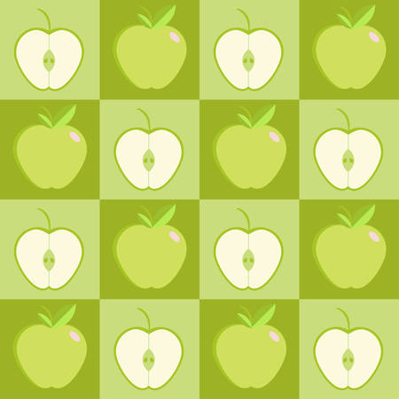 Seamless green apple in a square format background - vector pattern.
