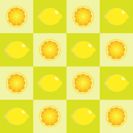 Seamless lemon in a square format background - vector pattern. Illustration