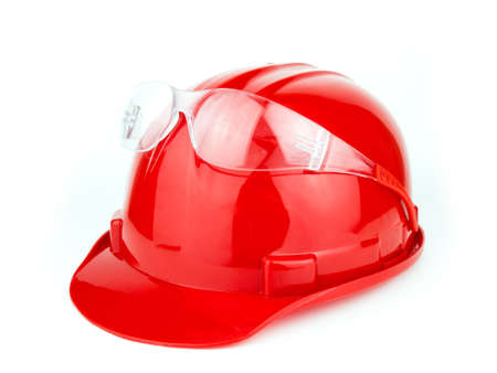 Helmet and Safety glasses construction isolated on a white background.
