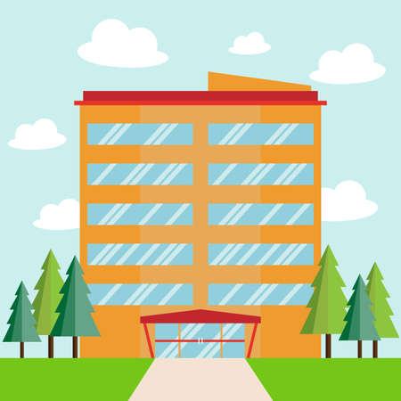 Big business company building with tree and cloud, Flat style, Vector Illustration.  イラスト・ベクター素材