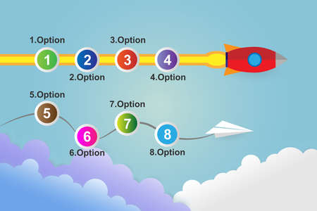 Startup infographics with 10 circle option template, Vector Illustration. Illustration