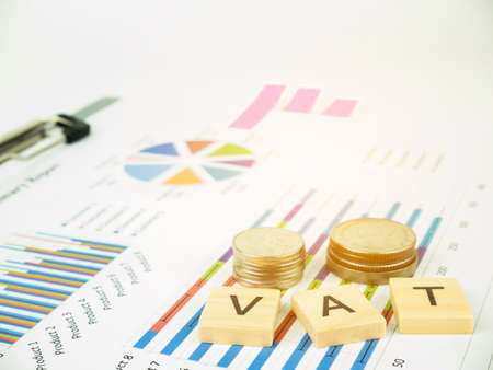 VAT concept with business graph analyst and sale report.