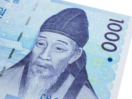 South Korea 1000 won banknote currency close up macro, Korean money. Stockfoto