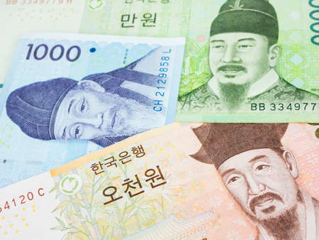South Korea won banknote currency close up macro, Korean money. Stock Photo