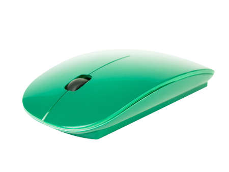 Green wireless PC mouse isolated on a white background. Imagens