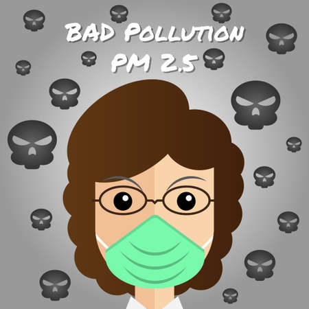 Woman is wearing N95 mask to protect Bad air pollution. Dust PM 2.5