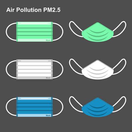 Medical masks to protect Bad air pollution. Dust PM 2.5 Ilustração