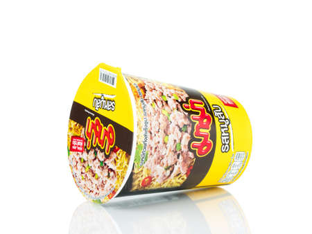 BANGKOK THAILAND - January 30, 2019 : Mama Minced pork flavour instant cup noodles isolated on white background.
