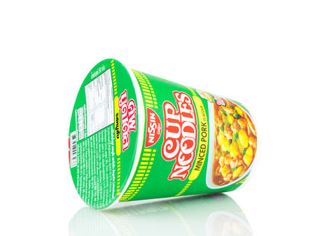 BANGKOK THAILAND - January 30, 2019 : Nissin minced pork flavour instant cup noodles isolated on white background.