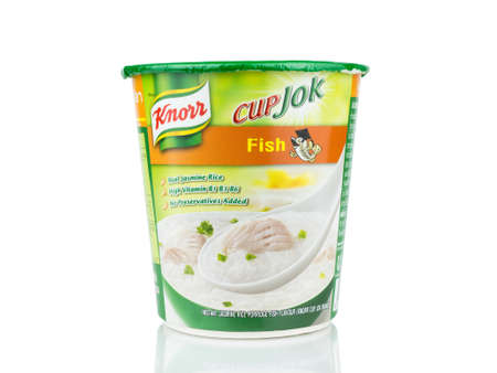 BANGKOK THAILAND - January 30, 2019 : Knorr Cup jok fish flavour isolated on white background. Sajtókép