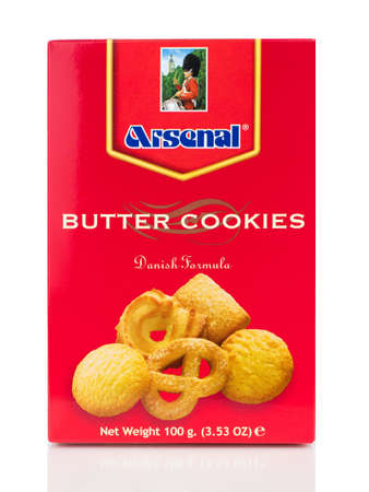 BANGKOK THAILAND - January 30, 2019 : Box of Arsenal butter cookies isolated on white background.