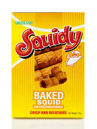 BANGKOK THAILAND - January 30, 2019 : Box of Squidy brand, Thai Snack Foods isolated on white background, Made in Thailand.