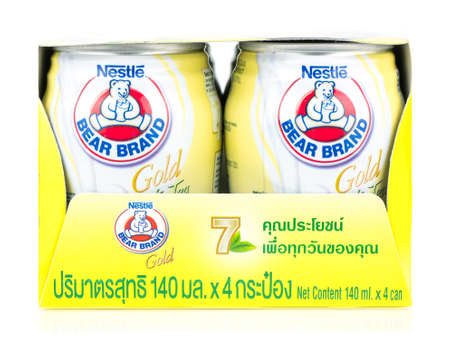 BANGKOK THAILAND - January 30, 2019 : Low Fat Milk Products Bear Brand Gold white tea product in Thailand.