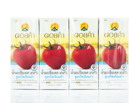 """BANGKOK THAILAND - January 30, 2019 : Healthy drinks branded """"Doikham"""" which consists of tomato juice low sodium isolated on white background. Editorial"""