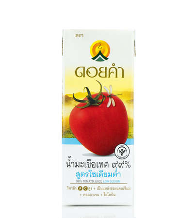 "BANGKOK THAILAND - January 30, 2019 : Healthy drinks branded ""Doikham"" which consists of tomato juice low sodium isolated on white background. Sajtókép"
