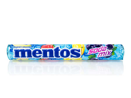 BANGKOK THAILAND - January 30, 2019 : Mentos chewy dragees that provides the benefit of minty freshness with an enjoyable chew isolated on white background.