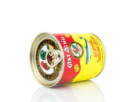 BANGKOK THAILAND - January 30, 2019 : Editorial photo Can of Ayam Brand Sardines isolated on white background.