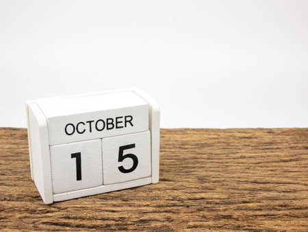 October 15 white cube wooden calendar on vintage wood and white background with autumn day, Copyspace for text,  Global Handwashing Day. Foto de archivo