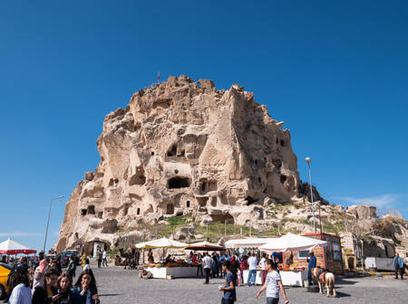 CAPPADOCIA, TURKEY - MAY 04, 2019 : Front of Uchisar Castle.