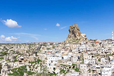 Uchisar Castle in Cappadocia Region of Turkey.