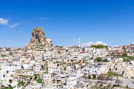 Uchisar Castle in Cappadocia Region of Turkey.